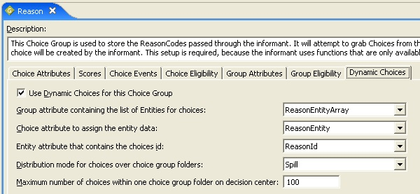 Reason choice group configuration, dynamic choices tab.