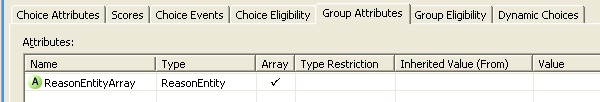 Reason choice group configuration, group attributes tab.