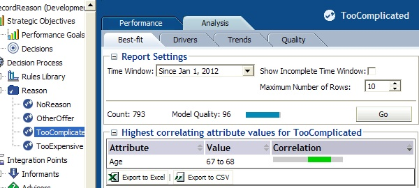 Decision center report for Reason choice, analysis tab.